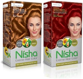 Nisha Creme Hair Color Combo Pack Honey Blonde & Flame Red (60g Colourant , 90ml developer , 18ml Nisha Conditioner) Pack of 2