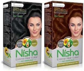 Nisha Creme Hair Color Combo Pack Natural Black & Natural Brown (60g Colourant , 60ml developer , 18ml Nisha Conditioner)Pack of 2
