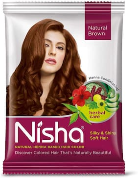 Nisha Henna Based Hair Color Powder With Precious Herbs, With Hair Dye Brush 10-in-1, 15g [Natural Brown, Pack of 10]