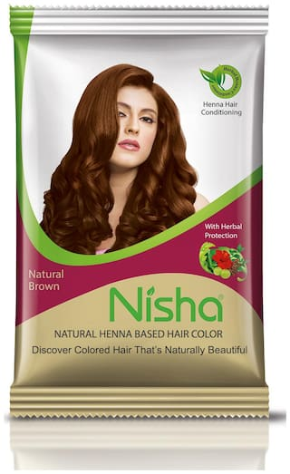 Nisha Natural Brown Color Henna Based Hair Color 15g (Pack of 10)
