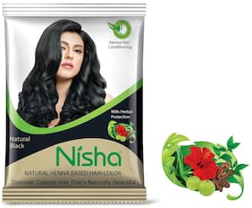 Nisha Natural Henna Based Hair Color Powder Natural Black 25g (Pack of 12)
