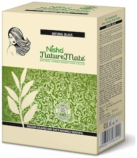 Nisha NatureMate Henna Based Hair Color 6 Pouch 10Gm Each Natural Black (Pack of 2)