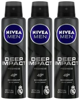 Nivea Men Deep Impact Freshness Deodorant Spray - For Men, 150ml (Pack of 3)