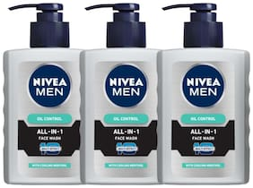 Nivea Men Oil Control All In One Face Wash Pump, 150ml (Pack of 3)
