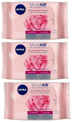 Nivea Nivea Micellair Skin Breathe Micellar Rose Water Wipes 25 pcs (Pack of 3)
