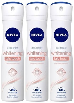Nivea Whitening Talc Touch Deodorant 150ml (Pack of 3)