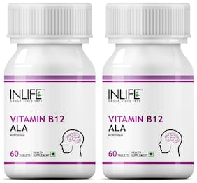 NLIFE Vitamin B12 Alpha lipoic acid (ALA);60 Tablets For Cognitive Memory Health (Pack of 2)