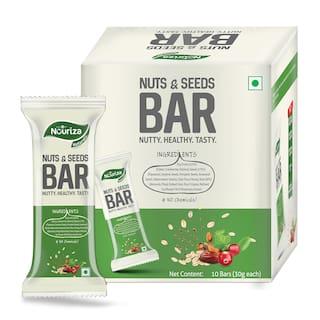 Nouriza Nuts n Seeds Bar 10pcs | 100% Natural Bar | No Added chemicals, no preservatives, no added sugar-300g(Pack of 1)