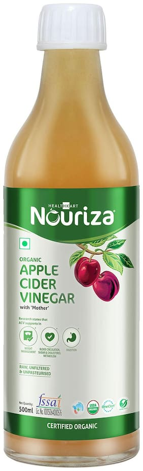 Nouriza Organic Raw Apple Cider Vinegar with Mother;Raw;Unfiltered;Unpasteurized;Unflavored-500mL (Organic ACV with Mother;500mL)