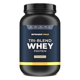 Nutrabay Gold Tri-Blend Whey Protein - 1kg (Cafe Mocha)