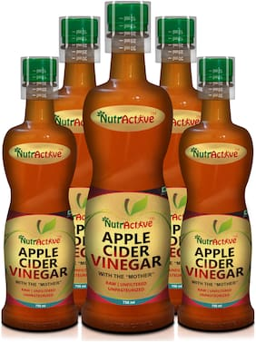 Nutractive Raw, Unfiltered and Unpasteurized Apple Cider Vinegar with 'Mother', 750 ml | Good for Weight Management - (Pack of 5)