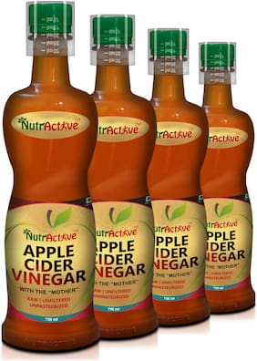Nutractive Raw, Unfiltered and Unpasteurized Apple Cider Vinegar with 'Mother', 750 ml | Good for Weight Management - (Pack of 4)