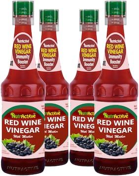 NutrActiveTM Raw, Unfiltered Red Wine Vinegar | Black Grapes Vinegar with Mother of Vinegar - 500ML - (Pack of 4)