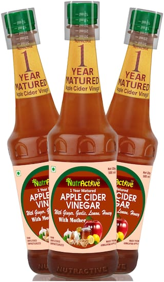 NutrActiveTM Apple Cider Vinegar with Ginger, Garlic, Lemon & Honey - (Pack of 3)