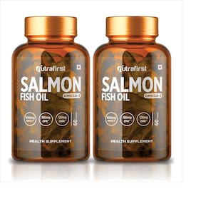 Nutrafirst Salmon Fish oil Omega-3 Fatty Acids With 1000 mg (EPA 180 mg;DHA 120 mg) - 60 Capsules (Pack of 2)