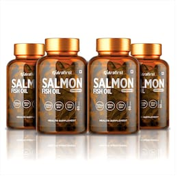 Nutrafirst Salmon Fish oil Omega-3 Fatty Acids With 1000 mg (EPA 180 mg;DHA 120 mg) - 60 Capsules (Pack of 4)
