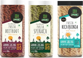 Nutrahi Gluten Free Pasta Beetroot,  Spinach Pasta  & Rich Quinoa (200gm Each) (Pack Of 3)
