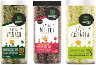 Nutrahi Gluten Free Pasta Spinach  Millet & Greenpea (200g Each) (Pack Of 3)