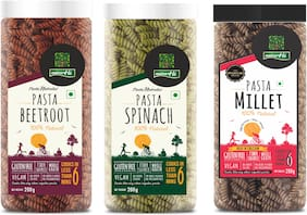 Nutrahi Gluten Free Pasta Beetroot  Spinach & Millet (200g Each) (Pack Of 3)
