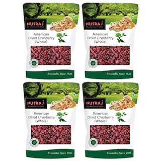 Nutraj American Dried Whole Cranberries 200g(Pack of 4)