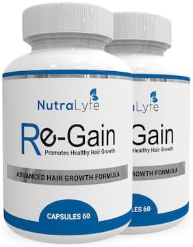 Nutralyfe 100% Natural & Herbal Re-Gain Supplement For Hair Loss - 60 Capsules (Pack of 2)