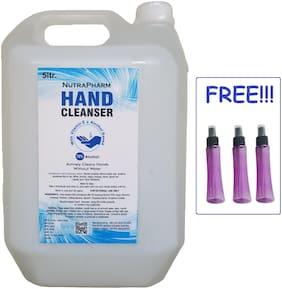 Nutrapharm Fda Approved Sanitizer 5 L And 3 pcs Stylish Blue Spray Bottles ( Pack Of 1 )