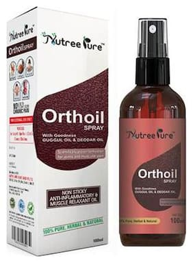 Nutree Pure Orthoil Pain Relief Oil with Spray ( For Pain in Leg, Arm, Body, Knee, Neck or Back) - 100 ml ( 100% Herbal & Scientifically Proven Formula ) (1 Bottle)