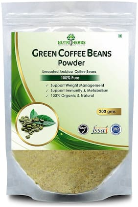Nutriherbs Green Coffee Beans Powder |Natural & Pure Product| Decaffeinated & Unroasted Arabica Coffee Beans| Herbal Supplement For Weight Managemen- 200 Gm