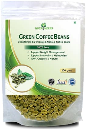 Nutriherbs Green Coffee Beans | Natural & Pure Product |Decaffeinated & Unroasted Arabica Coffee Beans| Herbal Supplement For Weight Management- 200 Gm