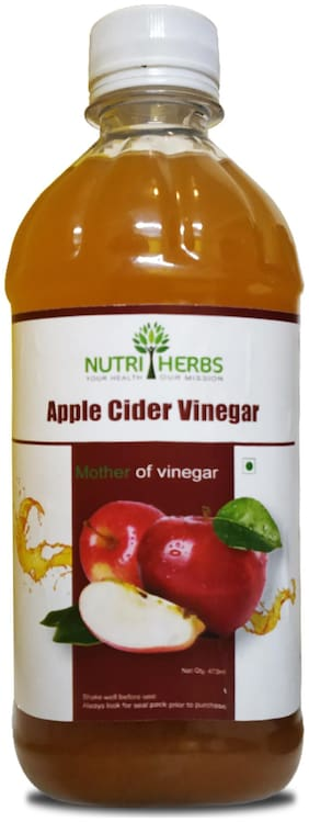 Nutriherbs-Organic Raw Apple Cider Vinegar with Mother | Natural & Unfiltered | Acts As Fiber Supplement;Metabolism Booster Works As A Cleanser For Women & Men (473 ml)