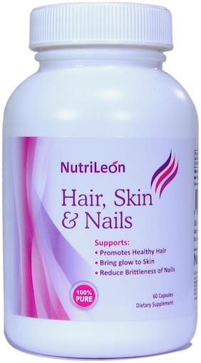 NutriLeon Biotin 10000 mcg Hair Skin & Nail with Collagen Vitamin E Iron Grape seed extract 60 Capsules