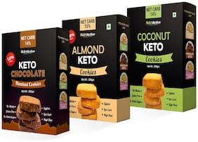 NutroActive Keto Cookies Combo (Almond, Coconut & Chocolate Hazelnut) 200 g Each (Pack of 3) Snacks Gift Pack