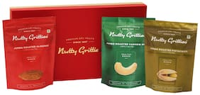 Nutty Gritties Platinum B Roasted Dry Fruits Gift Box - 582 gm (Roasted Lightly Salted - Almonds Cashews And Pistachios - 194 gm Each)