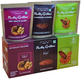 Nutty Gritties Variety 4Pm Healthy Snacks Pack(3 Packs Each of - Barbeque Almonds Thai Chilli Blend And Dry Fruit Blend) 213 gm