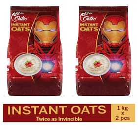 Oateo Instant Oats 100% Whole Grain,High In Fibre And Protein,1 Kg (Pack Of 2)
