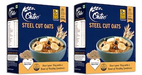 Oateo Steel Cut Oats 100% Whole Grain,High In Fibre And Protein,500g (Pack Of 2)