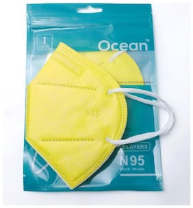 Ocean N95 Face Mask For Men & Women  Pack Of 5 (Yellow)