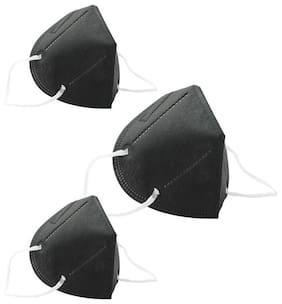 Ocean N95 Face Mask For Men & Women  Pack Of 3 (Black)