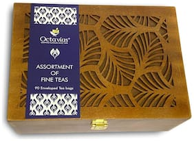 Octavius Assortment of Fine Black & Green Teas in Handcrafted Carved Wooden Gift Box - 90 Teabags