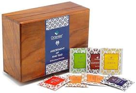 Octavius Assortment of Fine Black & Green Teas in Dark Wood Caddy Gift Box - 90 Teabags