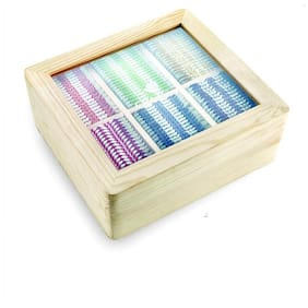 Octavius Assorted Tea Flavors in Black & Green Teas in Light Colour Pinewood Handcrafted Gift Box - 120 Tea Bags