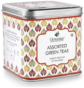 Octavius Assorted Green Teas | Variety Pack of 25 Tea Bags in Gift Box, 3 Assorted Tea Flavors in Green Teas | Pure Green| Lemon Green | Cinnamon Anise | Perfect for Gifting |