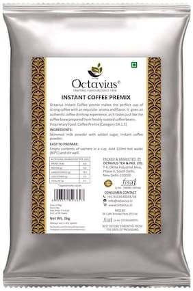 Octavius High Caffeine Coffee Instant Premix with Added Extracts of Premium Coffee Beans - 1 Kg Pouch
