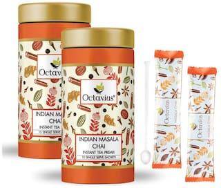 Octavius Indian Masala Chai Ready Tea   Tin Can Gift Pack - 10 Sachets   On the Go Instant Tea Premix   Masala Premix Tea Powder  Perfect For Work, Travel, Home   Masala Flavor Tea (Pack of 2)