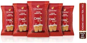 Octavius KADAK Assam CTC Chai (1Kg pack of 5) | Strong Kadak Regular Black Tea - 5 Kg