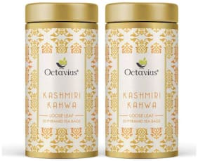 Octavius Kashmiri Kahwa Green Tea|A Traditional Indian Blend of Exotic Spices and Whole Leaf Green Tea |Improves Immunity |Energy Booster|Good For Digestion |20 Pyramid Tea Bags (Pack of 2)