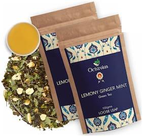 Octavius Lemony Ginger Mint Green Tea - 100 g - Perfect Blend of Green Tea;Mint;Dried Ginger & Natural Lemon Flavour;Low Caffeine (Pack of 2)