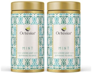 Octavius Mint Green Tea |Superior Loose Leaf Flavour Experience with Absolute Ease|Refreshing Blend |Reduces Stress |Aids Weight Loss |Delicious & Aromatic|20 Pyramid Tea Bags (Pack of 2)