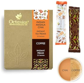 Octavius Rich Indian Masala Ready Tea & Instant Ready Coffee Economy Pack (2 In 1) - 50 Sachets