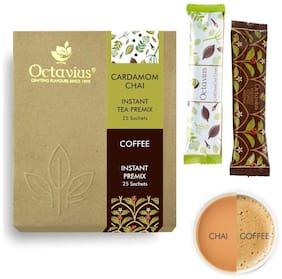Octavius Rich Cardamom Ready Tea & Instant Ready Coffee Economy Pack (2 In 1) - 50 Sachets